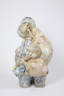 Translated Vase, 2011. By Yee Sookyung (Korean, b. 1963). Ceramic shards, epoxy, 24k gold leaf. Couresty the Artist. Permission is granted to reproduce these images solely in connection with a review or editorial commentary on the POETRY IN CLAY: KOREAN BUNCHEONG CERAMICS FROM LEEUM, SAMSUNG MUSEUM OF ART exhibition at the ASIAN ART MUSEUM February 25 through September 11, 2011. All other reproductions are strictly prohibited without the prior written consent of the copyright holder and/or museum.