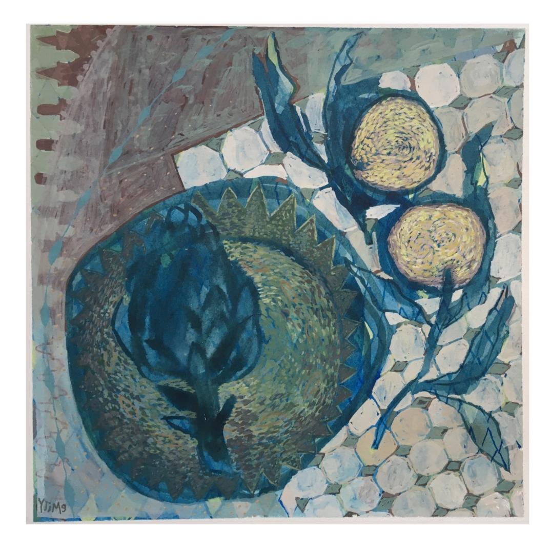 Artichoke & poem 50 x 50